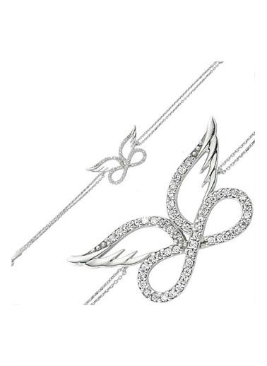 Enesstore 925 Ayar Kanatlı Sonsuzluk Model Bayan Gümüş Kolye Bileklik Seti Beyaz